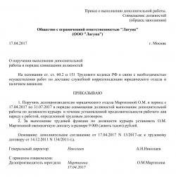 Приказ на совмещение должностей в одной организации Образец приказа о совмещении должностей