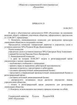 Назначение ликвидационной комиссии образец