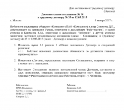 Образец дополнительного соглашения к трудовому договору об изменении должности