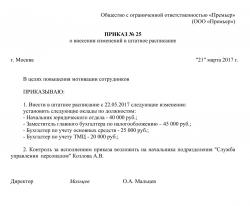 Служебное письмо об изменение штатного расписания графика работы