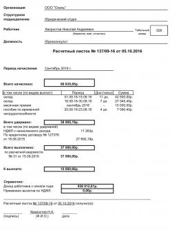 Образец расчетного листка по заработной плате