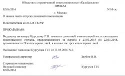 образец приказа о замене части отпуска денежной компенсацией - фото 11