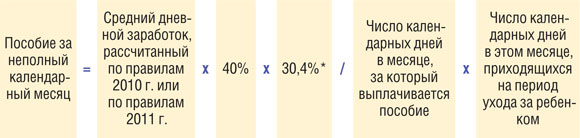 Ежемесячное пособие по уходу за ребенком исчисляется из среднего заработка застрахованного лица, который определяется путем умножения среднего дневного заработка, определяемого в соответствии с частями 3.