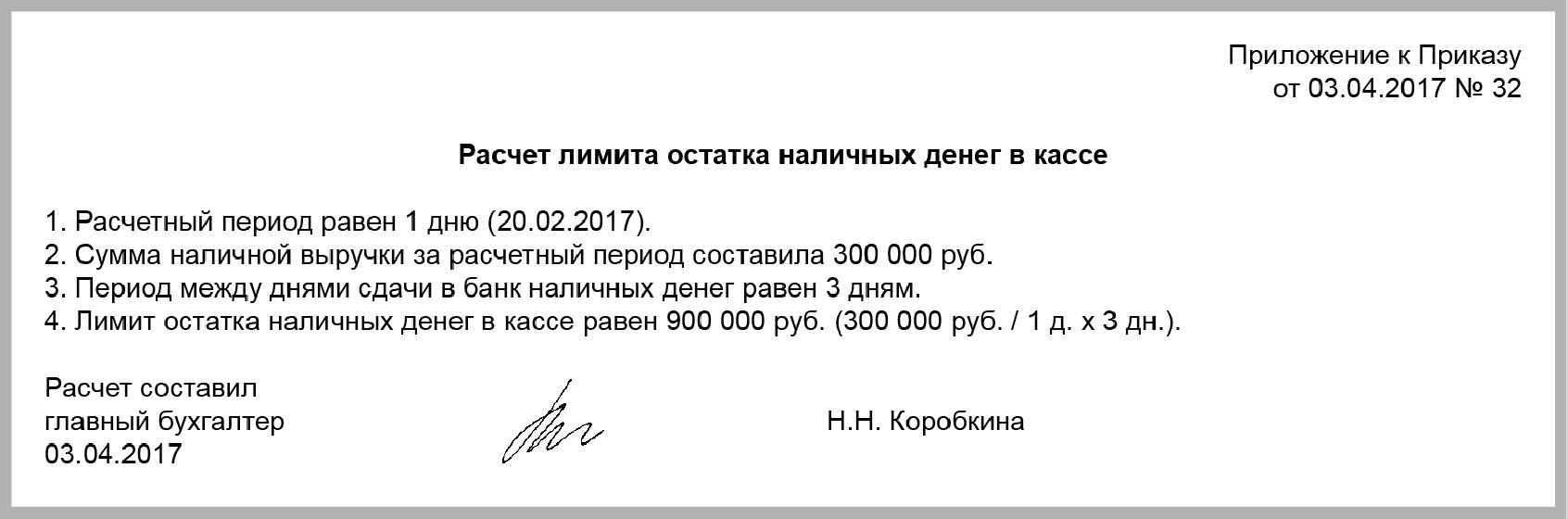 бланк расчета лимита наличных денежных средств в кассе